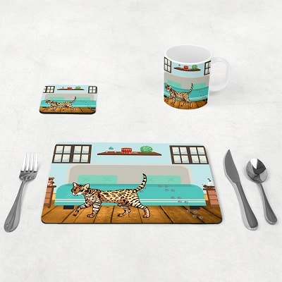 Bengal cat table placemats